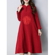 Women Embroidery Stand Collar Dress