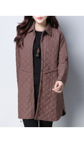 Solid Color Women Long Sleeve Button Pocket Thick Warm Quilted Shirt