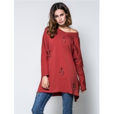 Autumn Women Loose Long Sleeves Tops with Hanging Ring Decoration