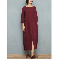Women 3/4 Sleeve Solid Color O-Neck Pocket Dress with Decorative Button