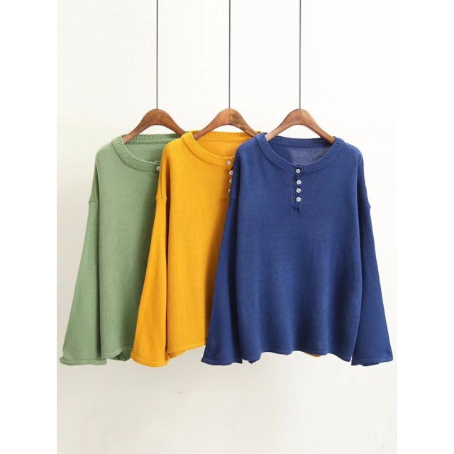 Casual Women O-Neck Long Sleeve Pure Color Sweater with Button