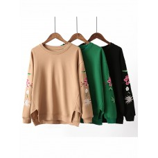 Casual Women Loose Round Neck Embroidery Thicken Cotton T Shirt