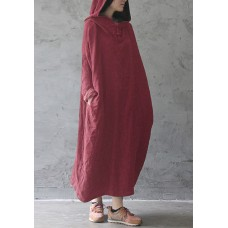 Ethnic Women Solid Plate Buckle Long Sleeve Hooded Vintage Maxi Dresses